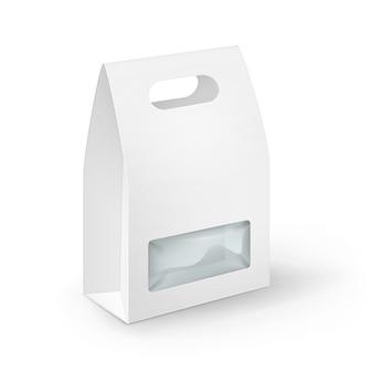 Rettangolo di cartone vuoto bianco take away handle lunch box packaging per sandwich, cibo, regali, altri prodotti con finestra in plastica mock up close up isolato su sfondo bianco