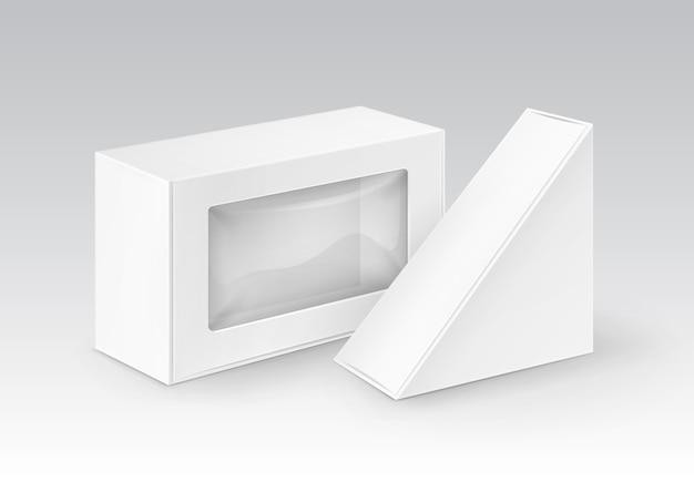 Triangolo di rettangolo di cartone vuoto bianco da asporto scatole di imballaggio per sandwich