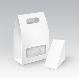 Triangolo di rettangolo di cartone bianco bianco da asporto scatole per il pranzo con manico per panino