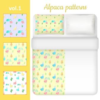 Biancheria da letto in alpaca bianca vuota e carina