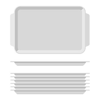 Vassoio per alimenti vuoto bianco con manici. piatti da cucina rettangolari isolati su sfondo bianco. vassoio in plastica per l'illustrazione della mensa, pila di rettangoli con vista dall'alto.