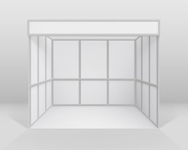 Stand standard per stand fieristici interni in bianco bianco per la presentazione isolato