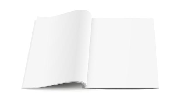 Rivista aperta bianco bianco con ombre morbide