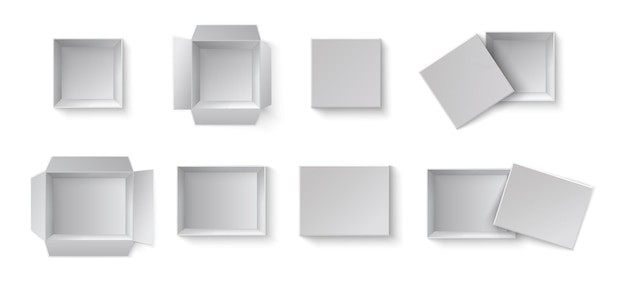 Contenitori di regalo di imballaggio in bianco bianco. un insieme di scatole aperte e chiuse a diverse angolazioni.