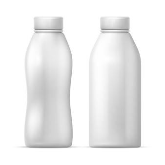 Bottiglia di plastica bianca vuota. imballaggi vettoriali per latte e prodotti a base di yogurt. plastica della bottiglia per il latte, illustrazione del yogurt della bevanda della latteria