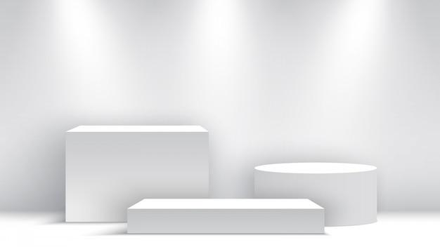 Podio bianco bianco. piedistallo. scena. scatole. illustrazione.