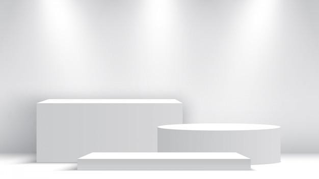 Podio bianco bianco. piedistallo con faretti. scena. scatole. illustrazione.