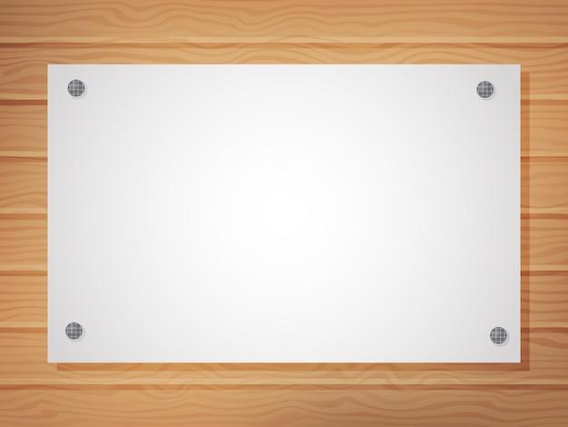 Foglio bianco bianco su uno sfondo di legno. un modello per il tuo design. spazio per il testo. illustrazione vettoriale. stile cartone animato.