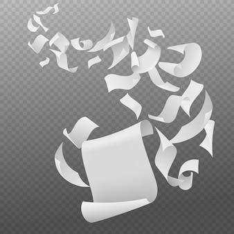 Fogli di carta bianca bianca con angoli piegati