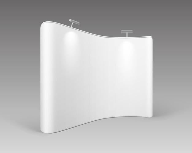 Stand pop-up di mostra commerciale in bianco bianco per la presentazione con retroilluminazione su priorità bassa bianca