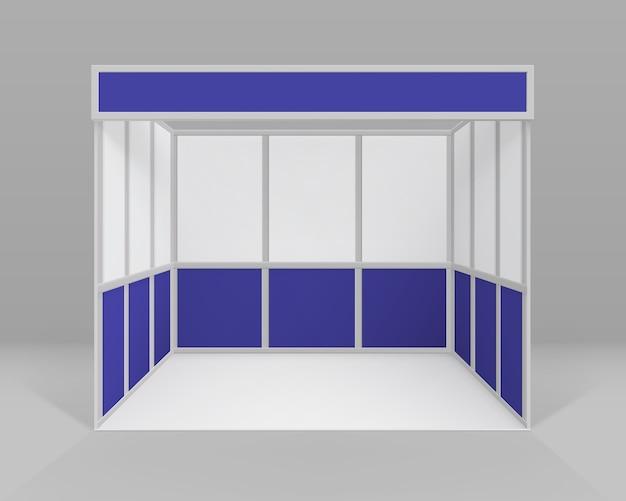 Stand standard per stand fieristici interni bianco blu vuoto per presentazione isolato