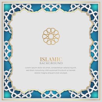 Sfondo islamico di lusso bianco e blu con cornice e motivo decorativo