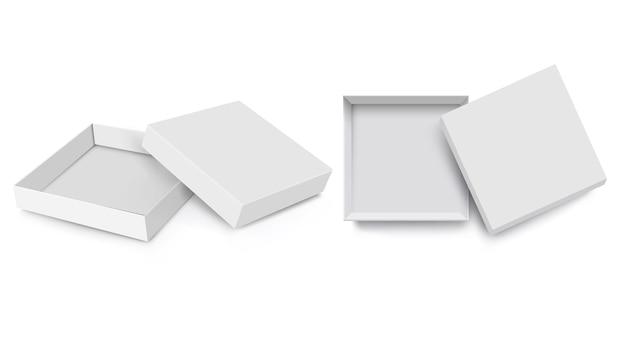 Scatola bianca mock up, stile 3d, set vettoriale. scatole quadrate vuote realistiche isolate del pacchetto aperto con il cappuccio aperto, modello vuoto del modello della scatola di carta. illustrazione vettoriale