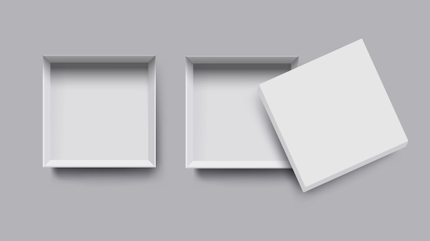 Vista superiore della scatola bianca, stile 3d