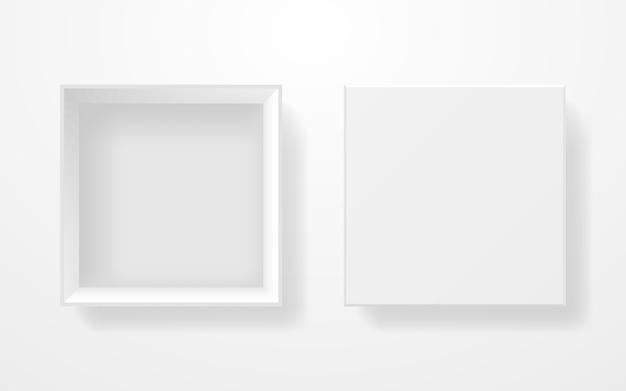 Vista dall'alto della scatola bianca. modello realistico su sfondo chiaro. scatola di cartone quadrata. contenitore aperto con coperchio. prodotto pulito in bianco. illustrazione.