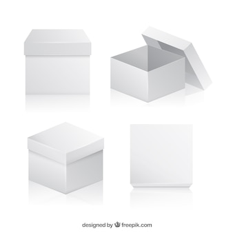 Raccolta di scatole bianche per la spedizione