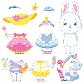 Bambola di carta coniglietto bianco con vestiti per l'estate