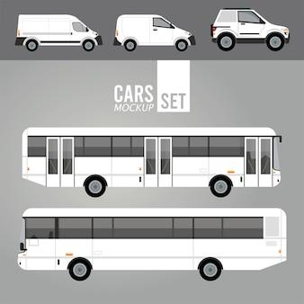 Autobus bianchi e veicoli per auto mockup di mini furgoni