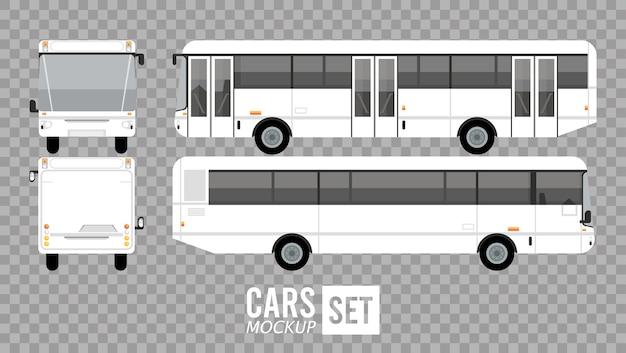 Veicoli di automobili mockup di autobus bianchi