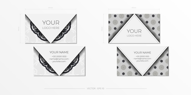 Biglietti da visita bianchi con motivi vintage. design biglietto da visita con ornamento monogramma.