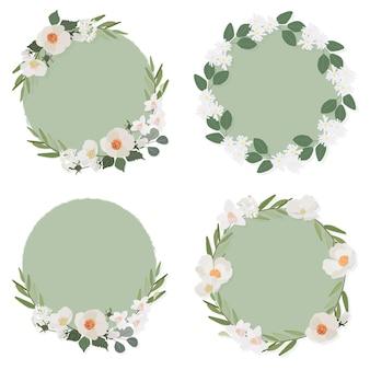 Fiore di camelia bianca su stile piatto collezione cornice corona cerchio verde