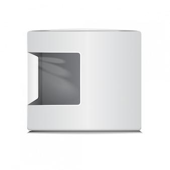 Scatola di cartone in plastica bianca con finestra.