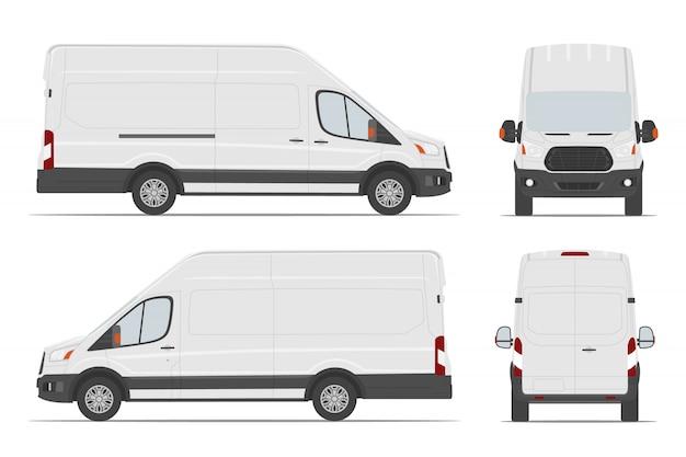Modello di auto furgone carico bianco in diverse angolazioni.