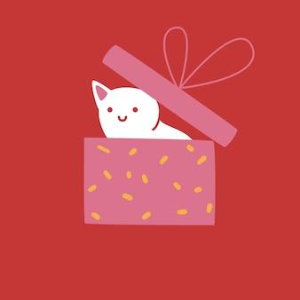 Gatto bianco nascosto in una confezione regalo. simpatico personaggio su sfondo rosso, disegno di biglietto di auguri, illustrazione vettoriale