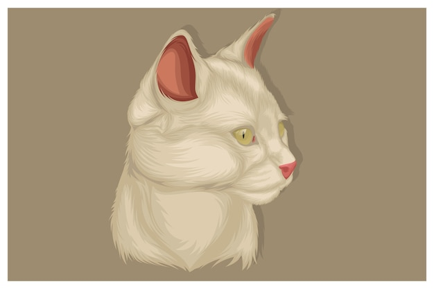 Illustrazione del gatto bianco che vede qualcosa di significativo in arrivo, solo la parte della testa