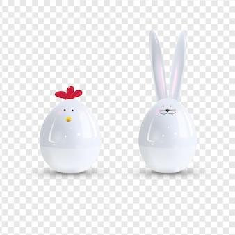 Coniglietto di pasqua e pollo in ceramica bianca