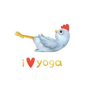 Pollo bianco in pose yoga. illustrazioni per bambini con un uccellino e il testo