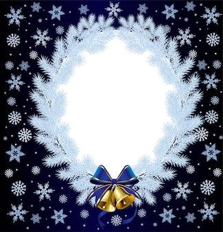 Ghirlanda di natale bianco su uno sfondo di neve che cade.