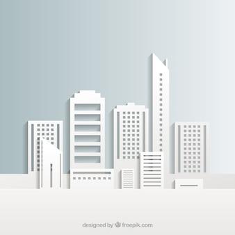 Edifici bianchi della città Vettore Premium