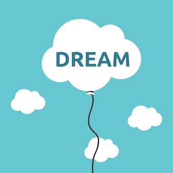 Palloncino a forma di nuvola bianca con parola da sogno che vola alto nel cielo concetto di motivazione dell'aspirazione
