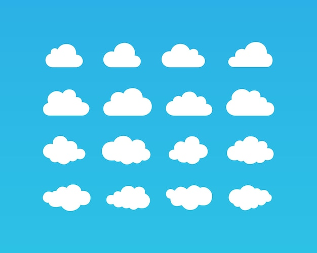 Icona di nuvole bianche impostata su sfondo blu. eps vettoriale 10