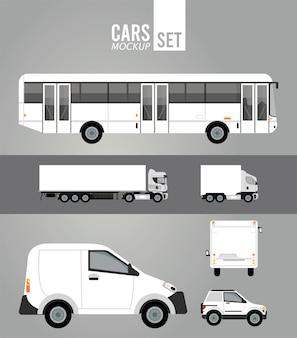 Veicoli per auto di gruppo mockup di colore bianco