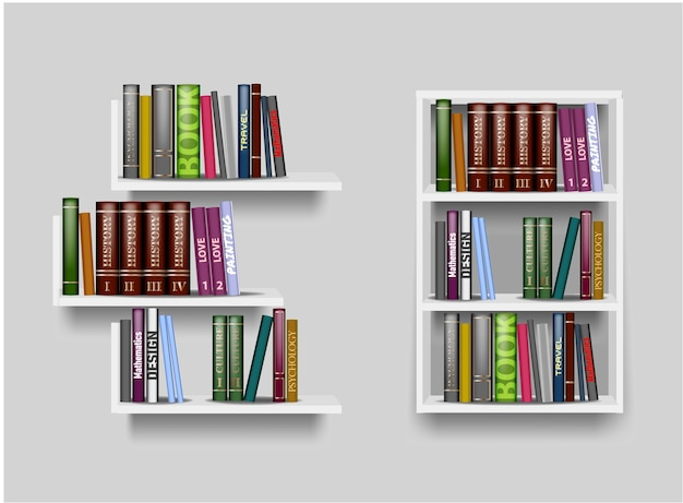 Scaffali di colore bianco e illustrazione di libreria con libri diversi. mensola per uno sfondo bianco, espositore per accessori, espositore per negozi