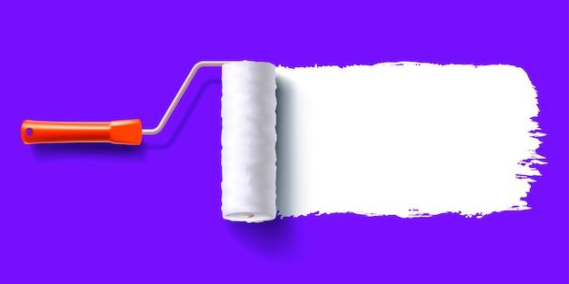 Traccia di colore bianco della spazzola a rullo