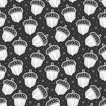 Ghiande di colore bianco. seamless pattern