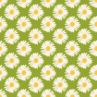 Fiori margherita colorati bianchi ornamento senza cuciture in stile disegnato a mano. sfondo verde.