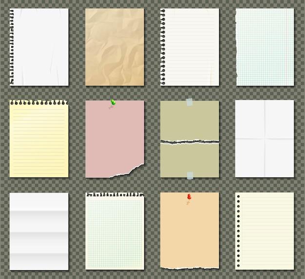 Fogli di carta bianchi e colorati, carta per quaderni, fogli di carta con bordi strappati Vettore Premium
