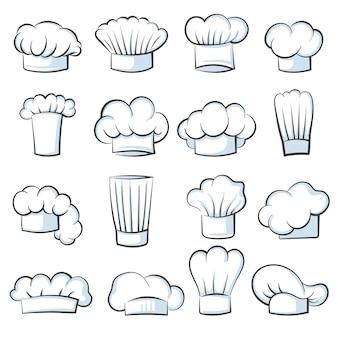 Cappello da cuoco bianco. cuoco cap disegno vestiti cucina simboli illustrazione vettoriale set isolato. abbigliamento in tessuto per berretto da chef, berretto con logo bianco per lavoro in cucina