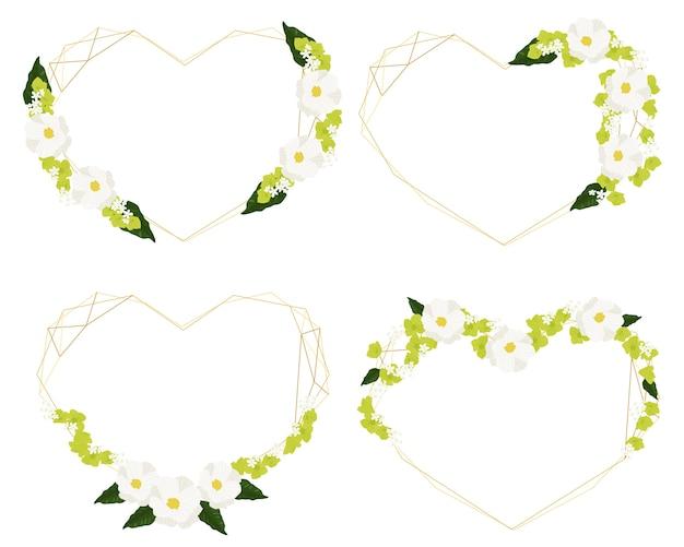 Insieme di cornice corona d'oro cosmo bianco e cuore di ortensia verde