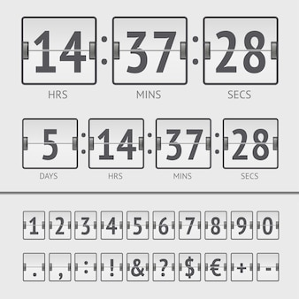 Conto alla rovescia bianco e numeri del tabellone segnapunti. illustrazione vettoriale eps10