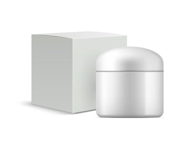 Scatola crema bianca e illustrazione barattolo crema