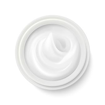 Crema bianca nell'illustrazione di vista superiore del contenitore del pacchetto. prodotto cosmetico per la cura
