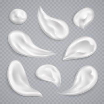 Raccolta bianca delle sbavature crema isolata. set di campioni di prodotti cosmetici cosmetici realistici per la cura della pelle.