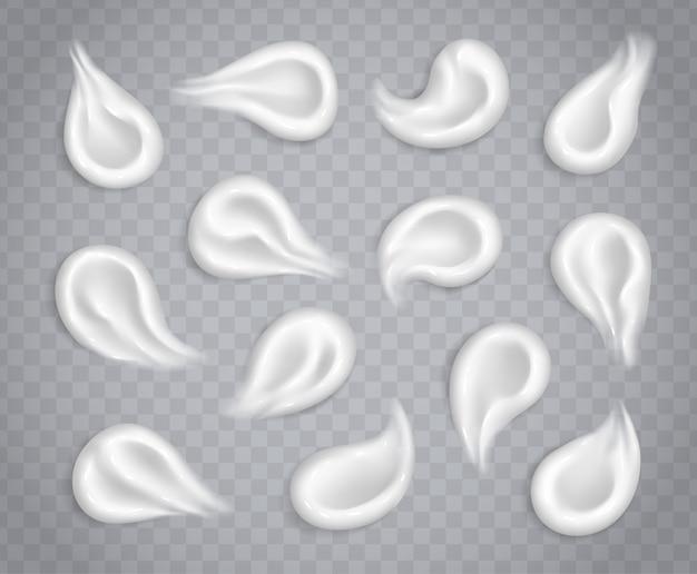 Raccolta bianca delle sbavature crema isolata su fondo trasparente. set di campioni di prodotti cosmetici cosmetici realistici per la cura della pelle. lozione idratante, colpi di crema solare.