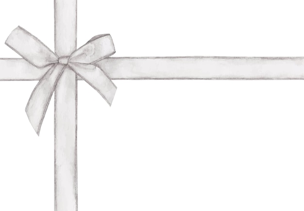 Nastro croce bianca con fiocco. acquerello.
