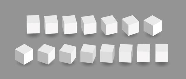 Animazione di cubi bianchi. icone del cubo in una prospettiva. i blocchi geometrici ruotano con ombra isolata su sfondo grigio.